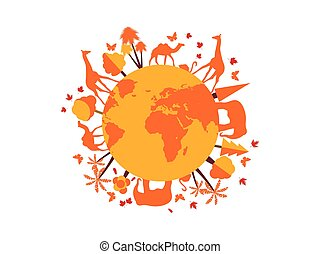 Animals on the planet. Vector