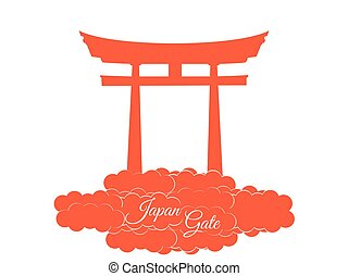 Japan gate. Torii gate. - Japan gate isolated on white...
