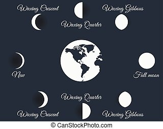 The phases of the moon. The whole cycle from new moon to...