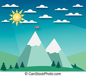 Landscape in a flat style with sun