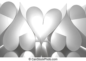 Paper hearts - Image of paper sheets making up several heart...