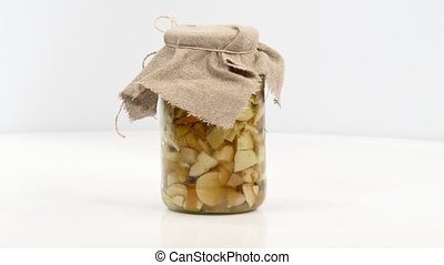 Delicious marinated mushrooms in jar - Delicious marinated...