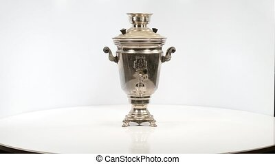 Vintage russian tea samovar, 360 rotation