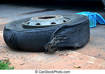 Wheel tire of bus broken and explosion on the road