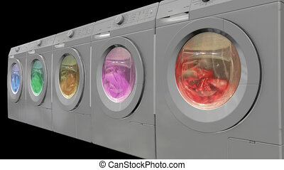 Washing machines with alpha channel