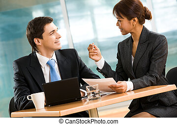 Interaction - Portrait of successful business partners...