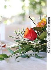 floral bouquet as a centrepiece on a table - Close up of a...