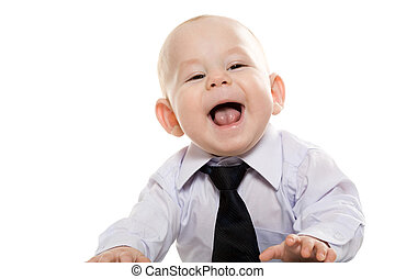 Happy boss - Portrait of baby boy wearing shirt and tie...
