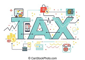 Tax refund business concept word lettering design...
