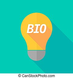 Long shadow light bulb icon with the text BIO - Illustration...
