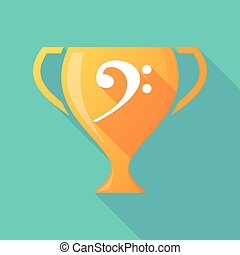Long shadow gold award cup with an F clef
