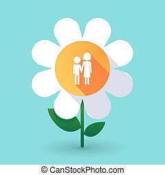 Long shadow daisy flower with a childhood pictogram -...
