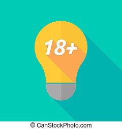 Long shadow light bulb icon with the text 18+ - Illustration...