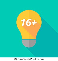 Long shadow light bulb icon with the text 16+ - Illustration...