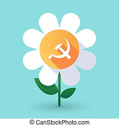 Long shadow daisy flower with the communist symbol -...