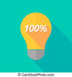 Long shadow light bulb icon with the text 100% -...