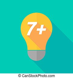 Long shadow light bulb icon with the text 7+ - Illustration...