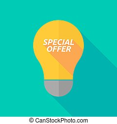 Long shadow light bulb icon with    the text SPECIAL OFFER