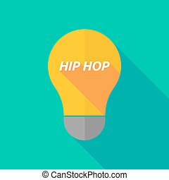 Long shadow light bulb icon with the text HIP HOP -...