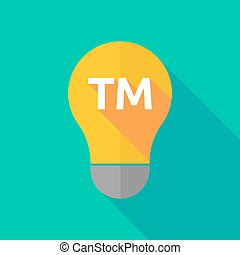 Long shadow light bulb icon with the text TM - Illustration...