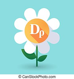 Long shadow daisy flower with a drachma currency sign -...