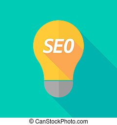 Long shadow light bulb icon with the text SEO - Illustration...