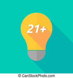 Long shadow light bulb icon with the text 21+ - Illustration...