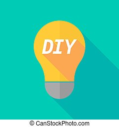 Long shadow light bulb icon with the text DIY - Illustration...