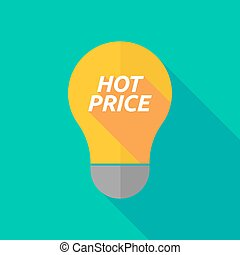 Long shadow light bulb icon with the text HOT PRICE -...