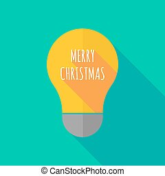 Long shadow light bulb icon with the text MERRY CHRISTMAS -...