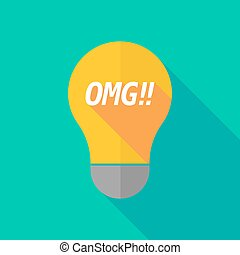 Long shadow light bulb icon with the text OMG!! -...