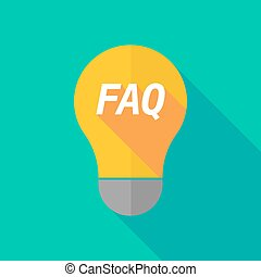 Long shadow light bulb icon with the text FAQ - Illustration...