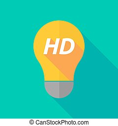 Long shadow light bulb icon with the text HD - Illustration...