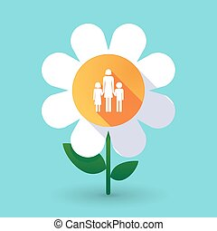 Long shadow daisy flower with a female single parent family pictogram