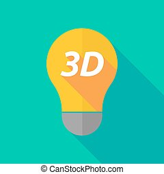 Long shadow light bulb icon with the text 3D - Illustration...