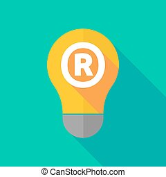 Long shadow light bulb icon with the registered trademark...
