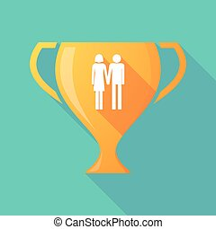 Long shadow gold award cup with a heterosexual couple...