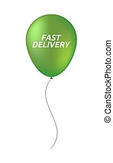Isolated balloon with  the text FAST DELIVERY