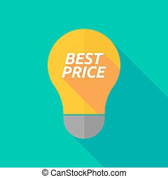 Long shadow light bulb icon with the text BEST PRICE -...