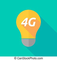 Long shadow light bulb icon with the text 4G - Illustration...