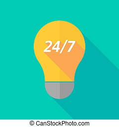 Long shadow light bulb icon with the text 24/7 -...