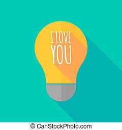 Long shadow light bulb icon with the text I LOVE YOU -...