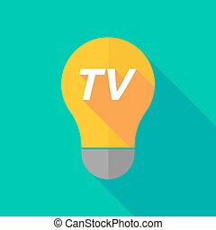 Long shadow light bulb icon with the text TV - Illustration...