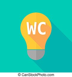 Long shadow light bulb icon with the text WC - Illustration...