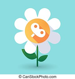 Long shadow daisy flower with a toy crank - Illustration of...