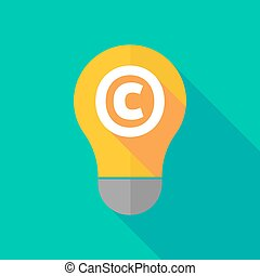 Long shadow light bulb icon with the copyright sign -...