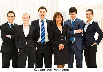 Business group - Portrait of smart business people standing...