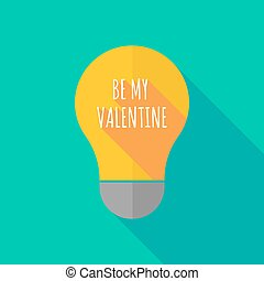 Long shadow light bulb icon with the text BE MY VALENTINE -...