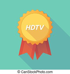 Long shadow badge with the text HDTV - Illustration of a...