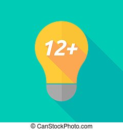 Long shadow light bulb icon with the text 12+ - Illustration...